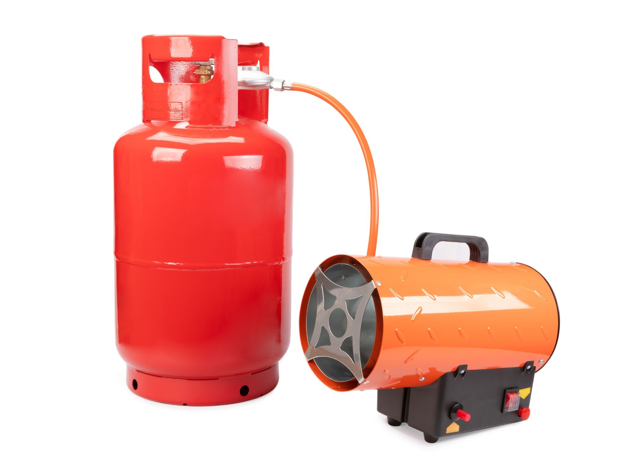 a red LPG tank connected to the portable heater