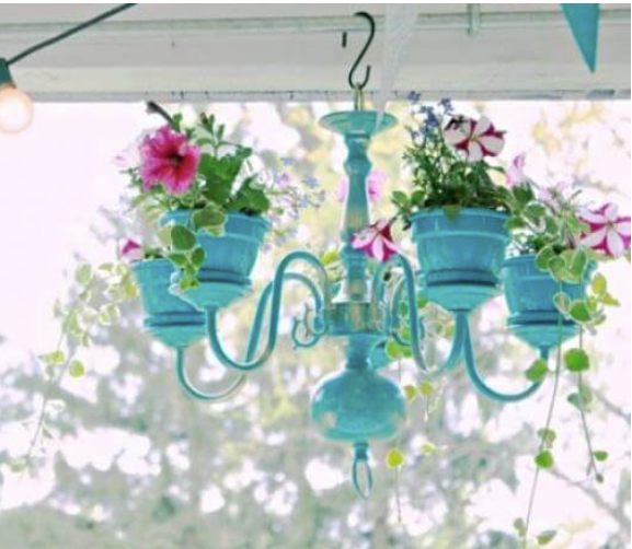 Upcycled Chandelier Hanging Flower Planter