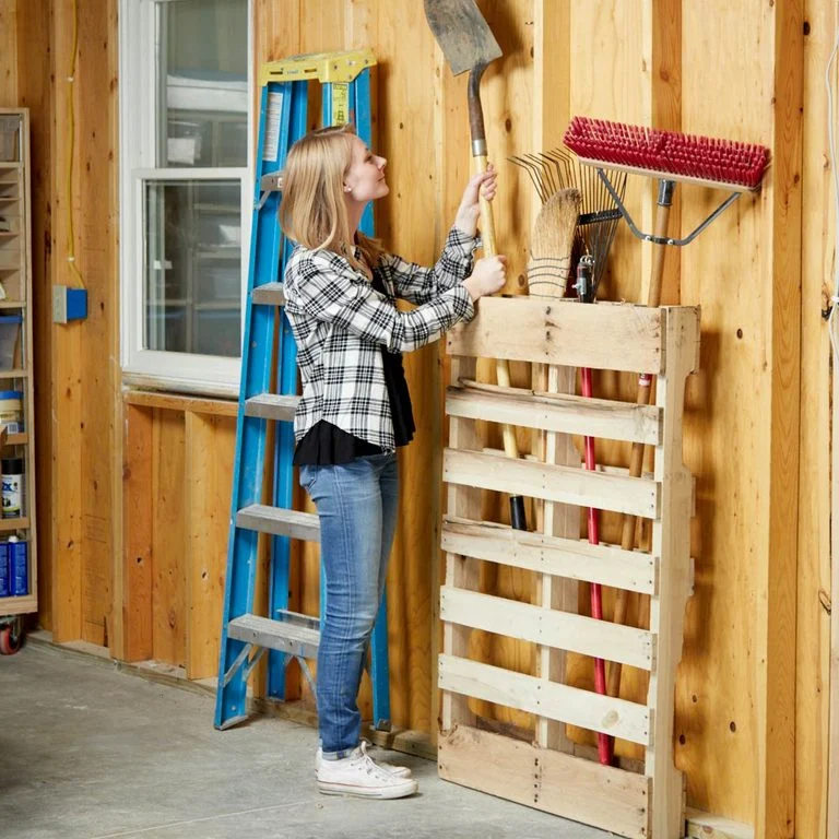 Pegboard and Pallet for Garden and Garage Tools