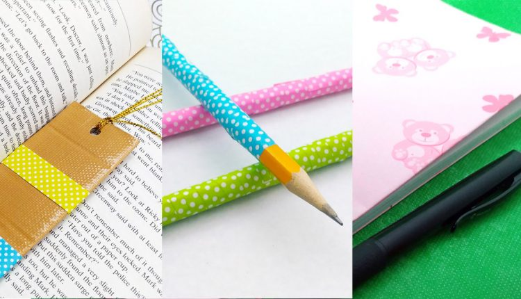 diy school supplies - pencils, bookmarks and notebooks