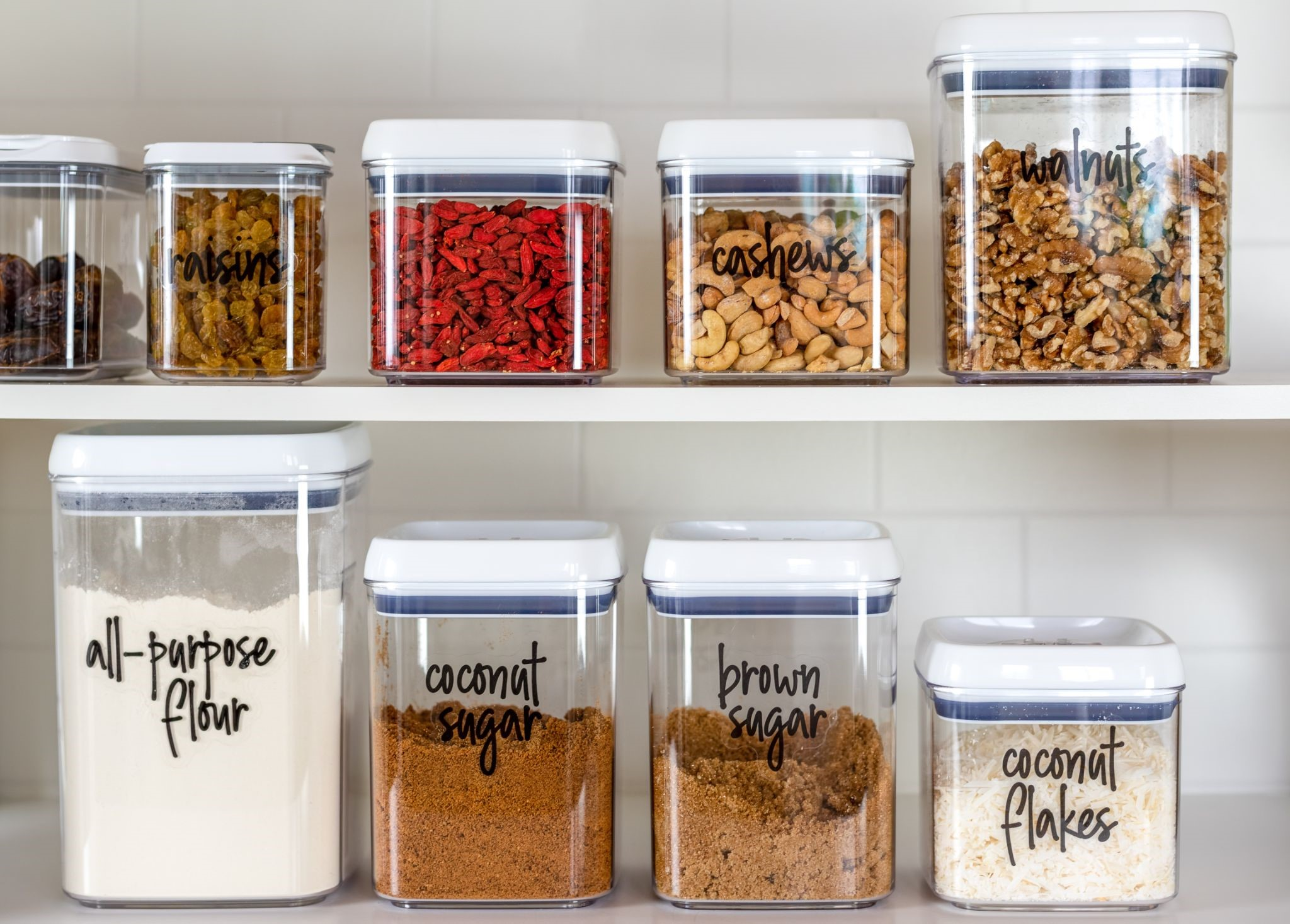 a of well-labeled and organized pantry items