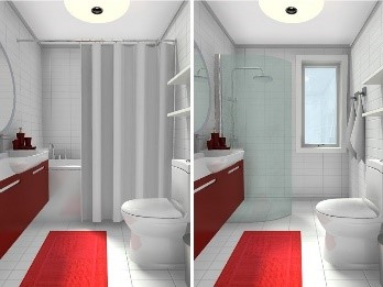 a white and red bathroom