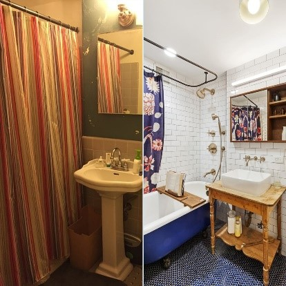 a before and after bathroom makeover