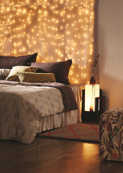 Christmas lights hanging in room