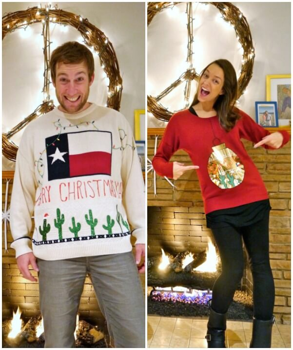 couple with individualized themes for their ugly christmas sweaters