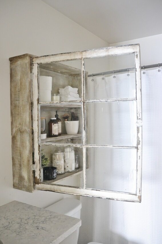 Marvelous DIY medicine cabinet for bathroom made from a old rustic window