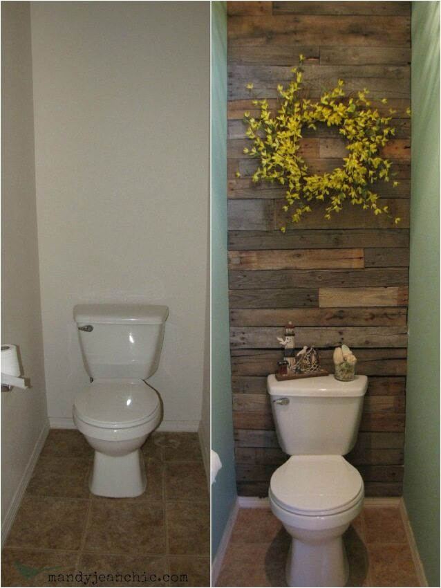 Recycled wood creates a beautiful textured wall element for half bathroom.