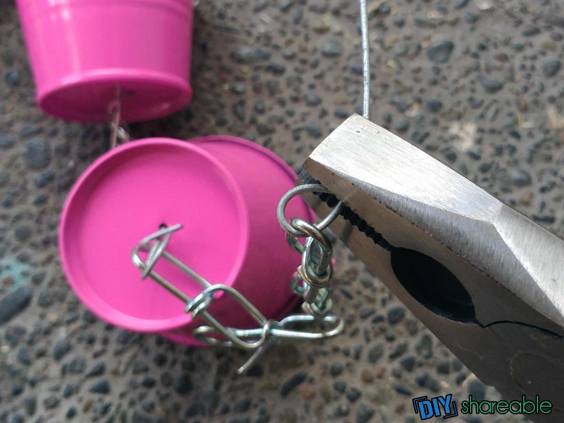 how to finish the DIY Rain Chain