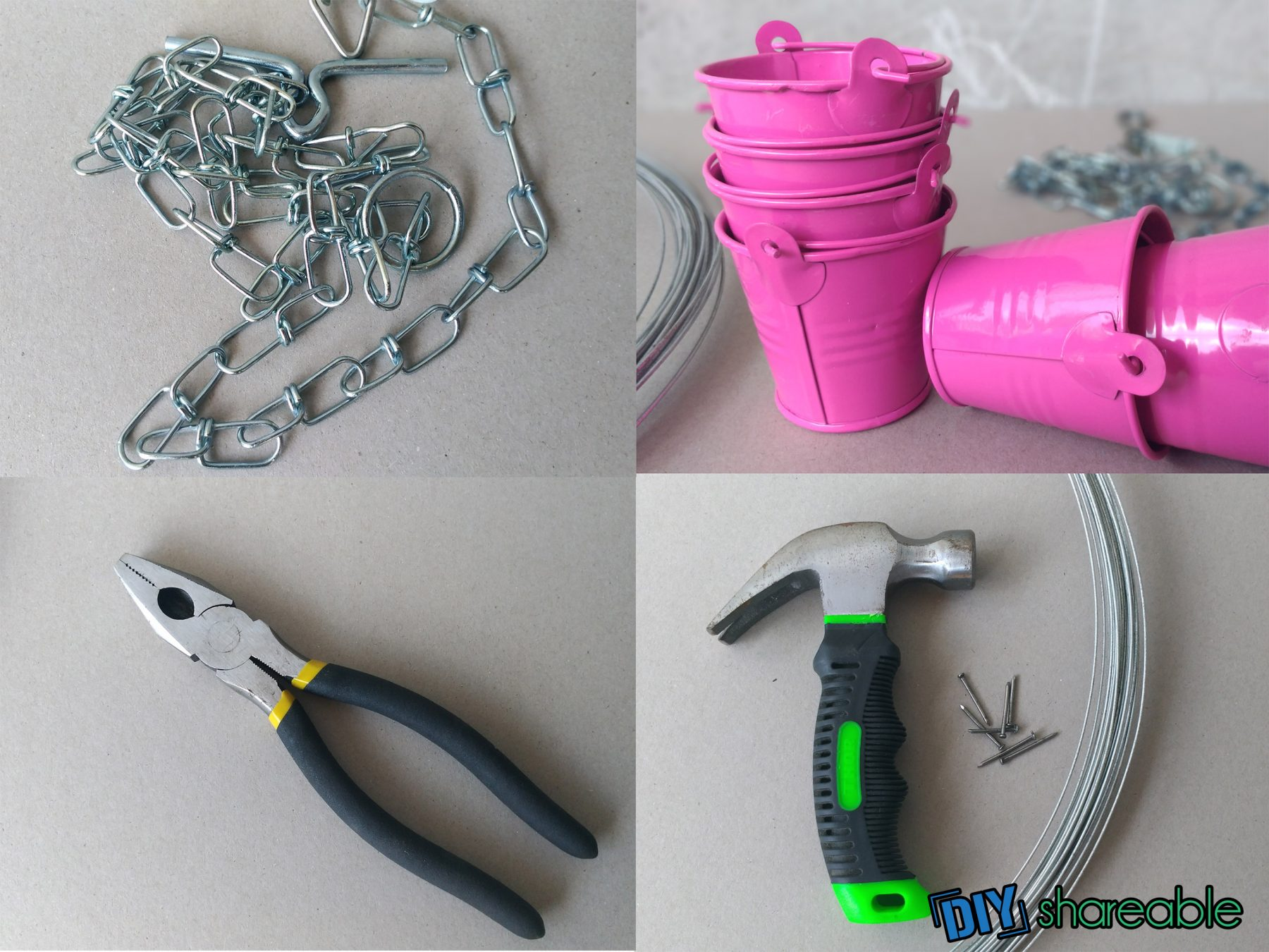 Materials needed to make a DIY Rain Chain
