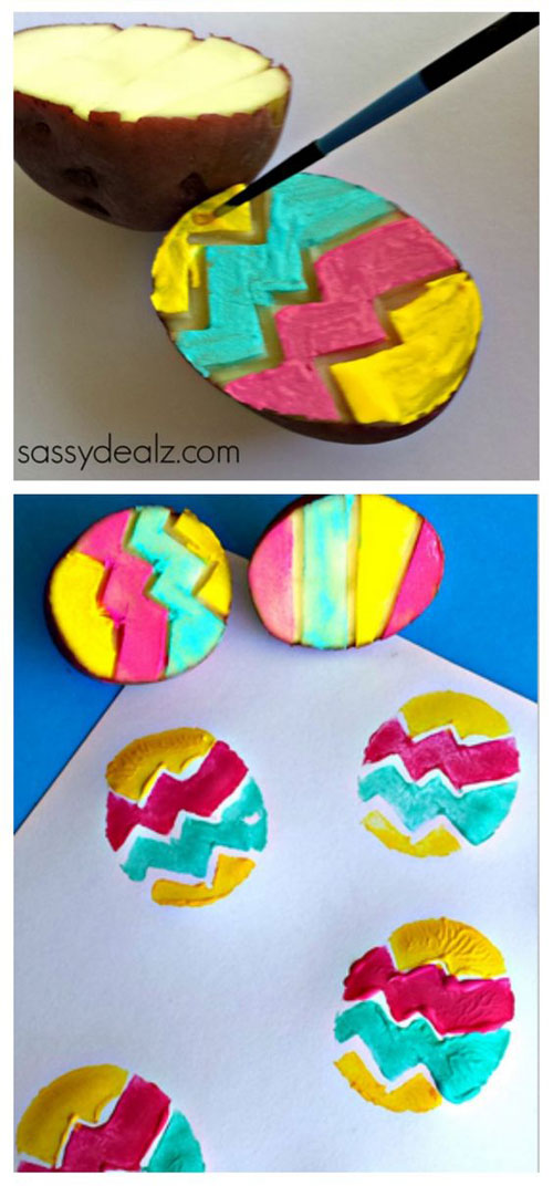 a colorful painted paper eggs