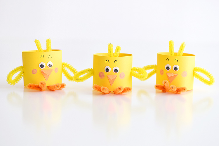 a yellow paper chicks craft