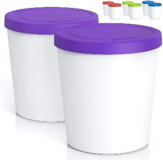 a white with purple lid container