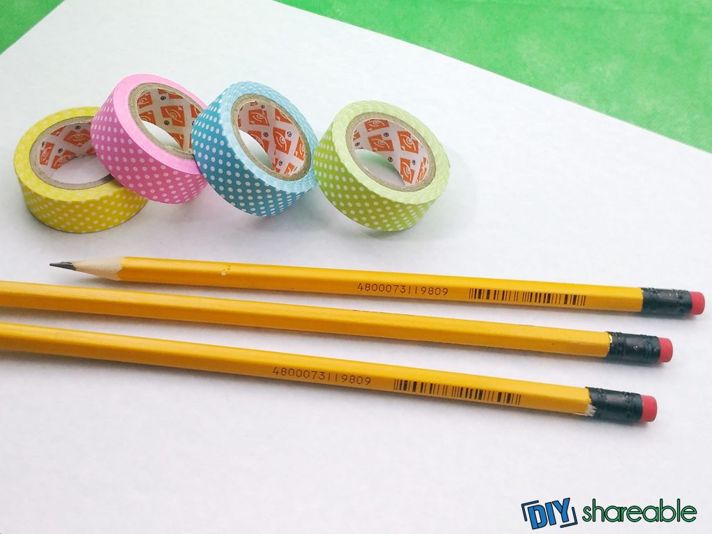 materials needed to make diy pencils covered in washi tape
