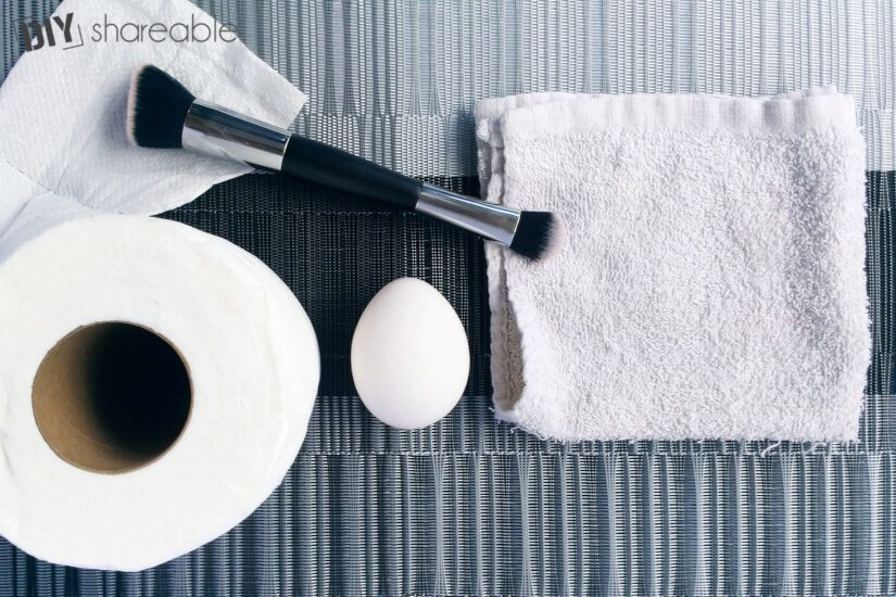 Supplies for DIY peel off face mask using egg whites