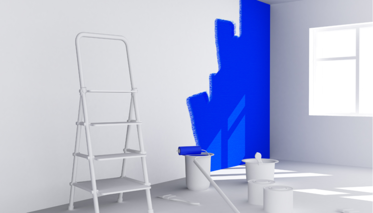 a blue paint in white wall