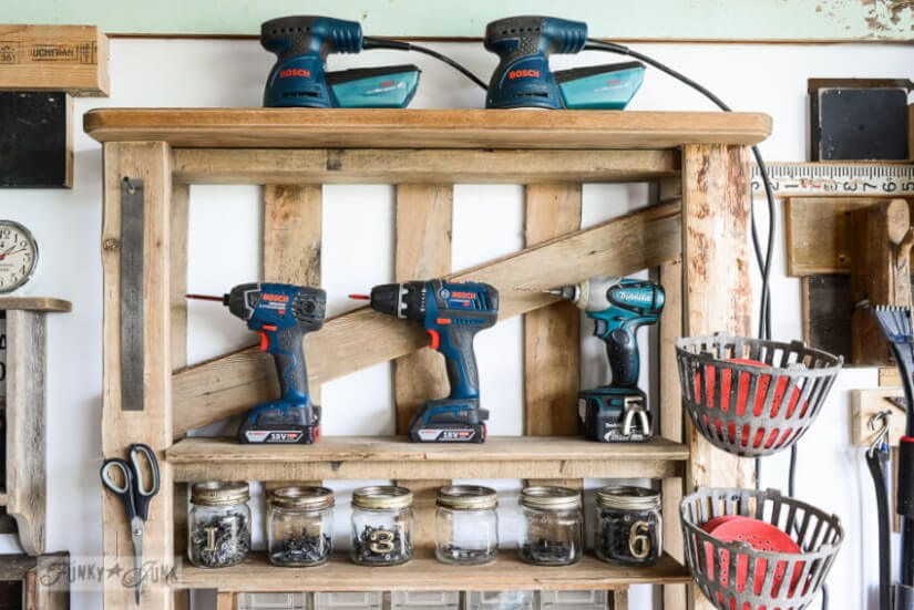 Pallet Repurposed For Power Tool Storage