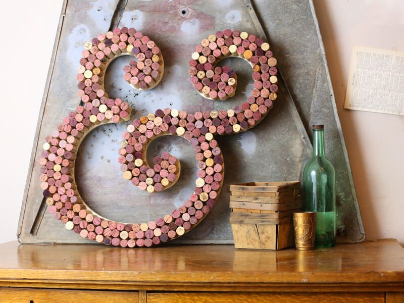 Craft letter in a cool font made with wine corks