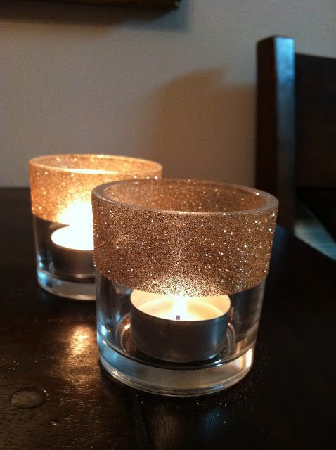 Votive candle holders sprinkled with gold glitter