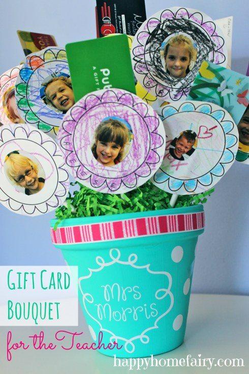 gift card bouquet with pictures of kids in class