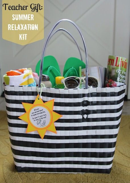 beach bag full of all the items needed for pool or beach.