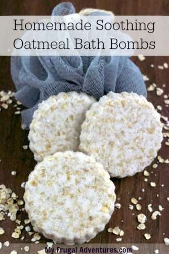 Homemade oatmeal bath bombs are wonderful for soothing irritated or sunburned skin.