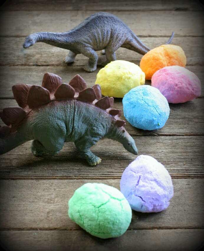 Create these bath bombs that double as dinosaur eggs and entice your little one to take that unwanted bath!