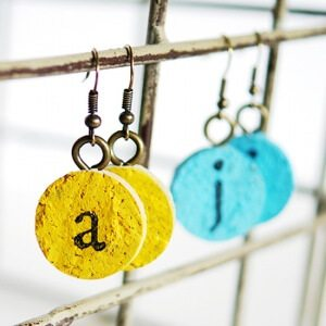 Colorful earrings made from wine cork with monogram