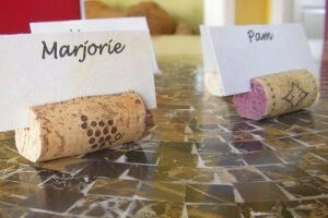 Wine cork placecard holders with names.