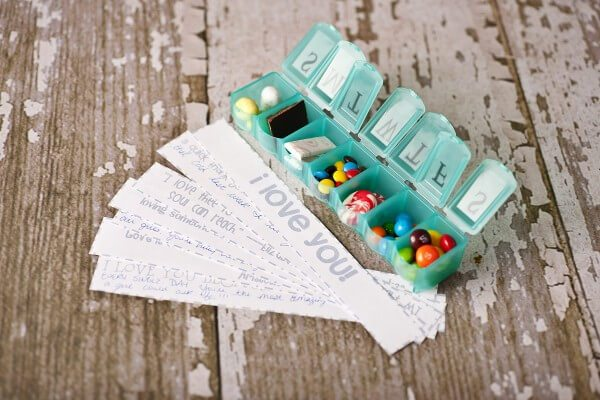 A special take on a 7 day pill box that you can surprise him with beside his sink or nightstand.