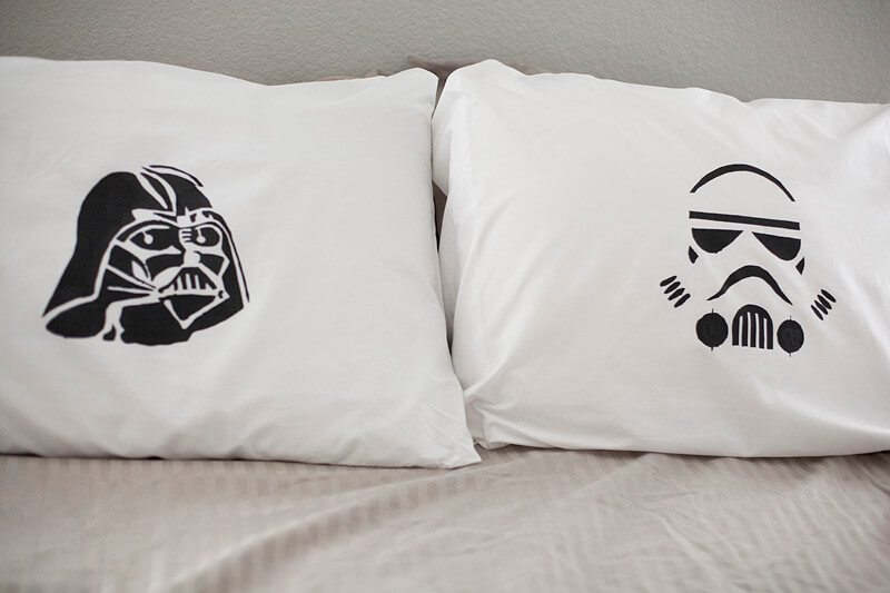 These pillows are Start Wars themed but can be done with any type of stenciled design that you may prefer.