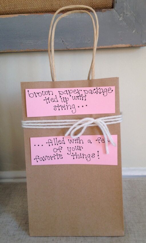 This DIY gift uses a brown paper bag to create a package full of your boyfriend's