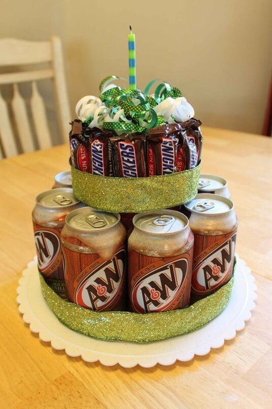 A Two Tiered Cake Made Of Candy And Soda For The Boyfriend With Sweet Source Best Birthday Gifts Ideas Super Affordable Diy Your
