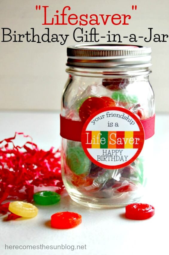 lifesaver mason jar colorful gift candy