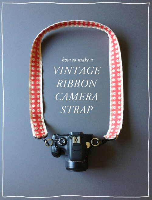red and white gingham vintage camera strap