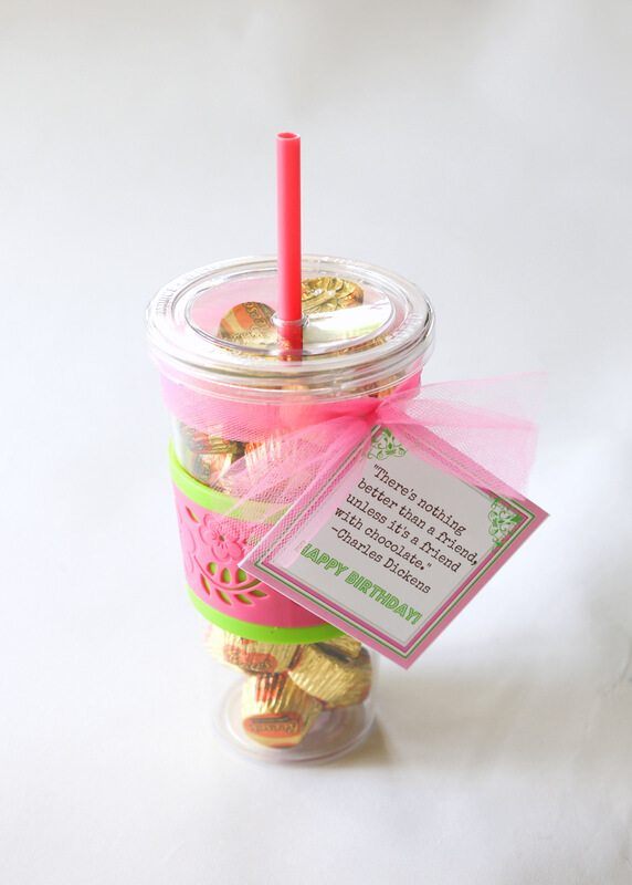 gold chocolate candy gift plastic tumbler red straw pink ribbon