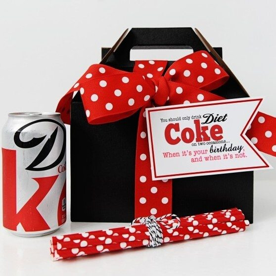 diet coke gift red and white polka dot ribbon