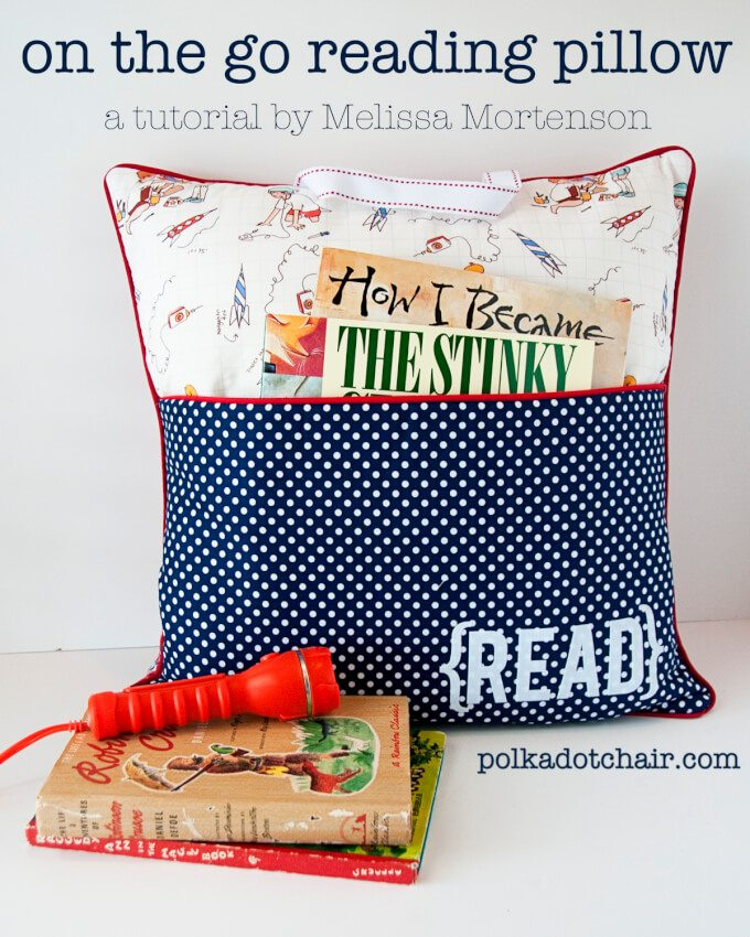 reading pillow pocket polka dots books red flashlight