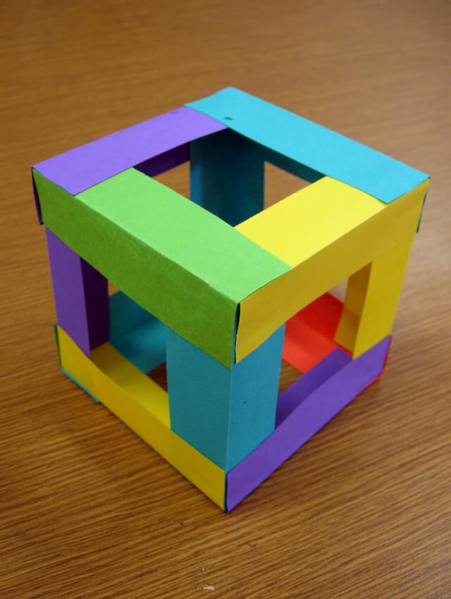 brightly colored paper cube craft