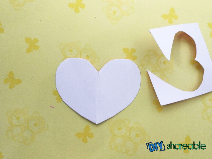cut out a heart to be put on the outside of your jar
