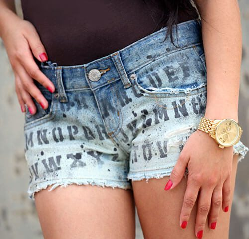 custom printed shorts using bleach and fabric paint