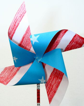 red white and blue July 4 pinwheel