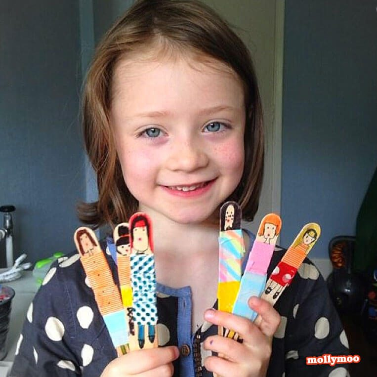 popsicle dolls with child in polka dots
