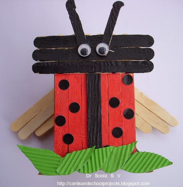 red and black ladybug from popsicles