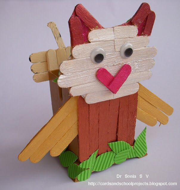 owl from popsicle sticks