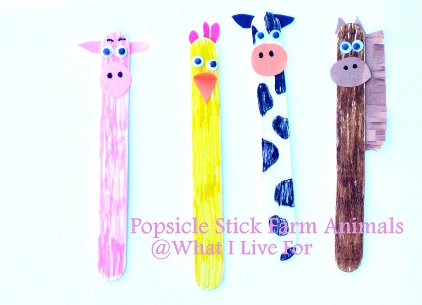 pig chicken cow and horse popsicle stick animals
