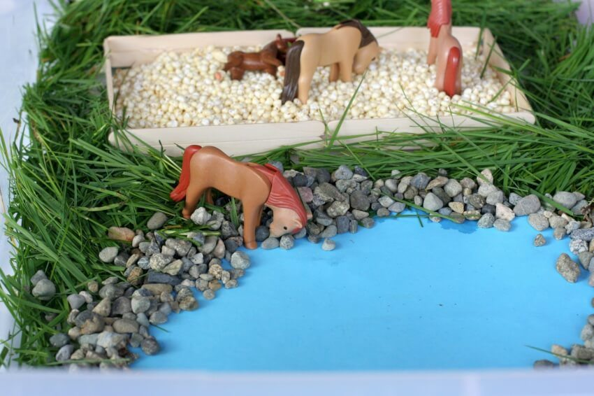 popsicle stick grass and horse stall