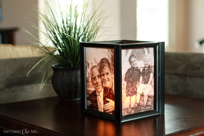black picture frame lamp with green plant in living room