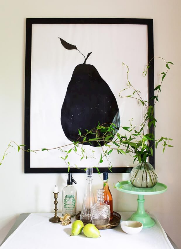 extra large size DIY picture frame with photo of black and white pear and green plant