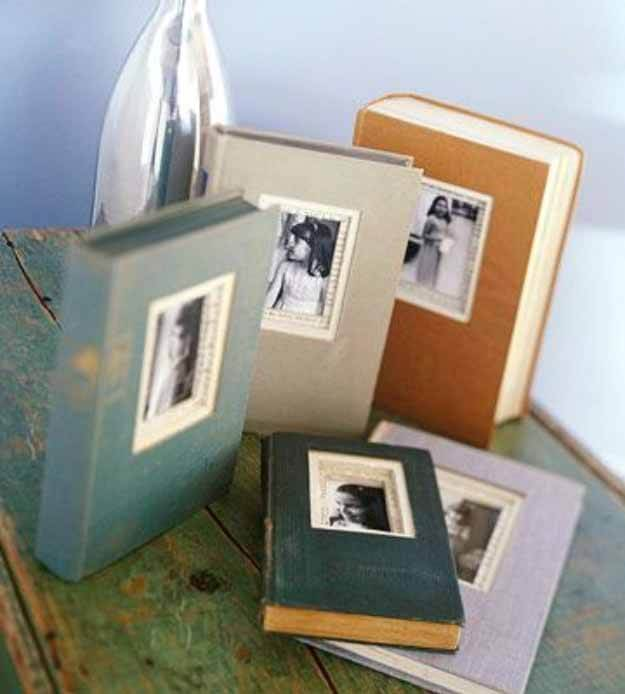 picture frames cut out of old hardbound books
