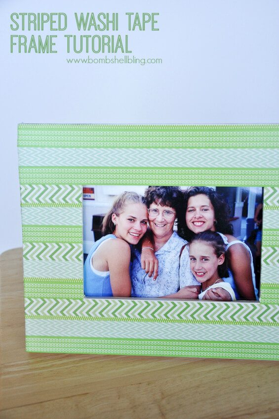 green and white washi tape picture frame with family photo
